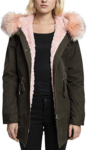 Urban Classics Damen Ladies Peached Teddy Lined Parka, Grün (Darkolive 551), Large