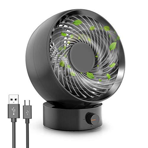 Ventilador USB, RATEL Ventiladores de mesa portátil mini, 180° Velocidad Variable & Ángulo de rotación de 20 °, Con cable de 1,2 m, adecuado para el hogar, la oficina (Negro)