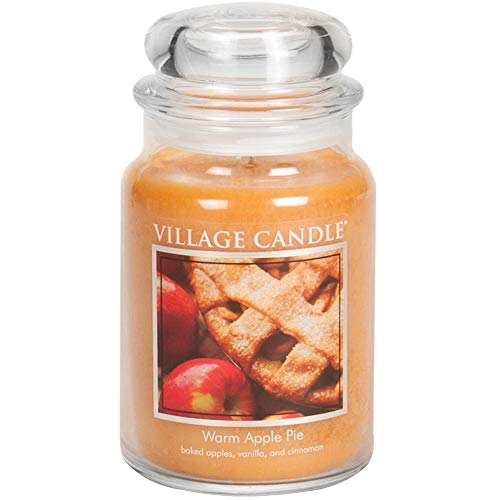 Village Candle Warm Apple Pie Large Glass Apothecary Jar Scented Candle, 21.25 oz, Brown