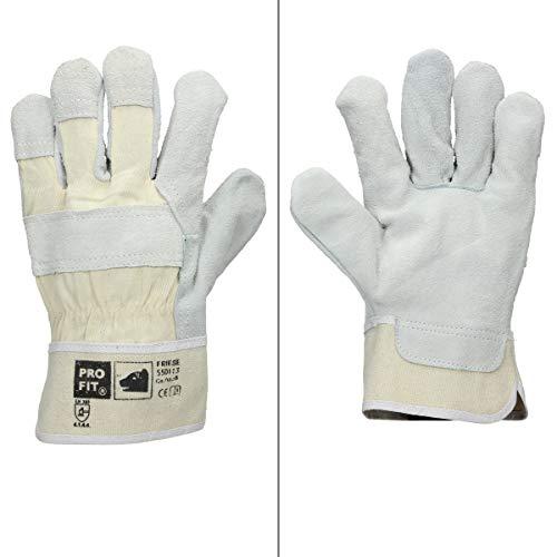 ECD Germany 12 Paar Pro-Fit® Rindspaltleder-Handschuhe Größe 9 / L - Natur - Canvas-Stulpe - Leder Arbeitshandschuhe Rindspalt Schutzhandschuhe Gartenhandschuhe Handschuhe Handschutz - Menge wählbar