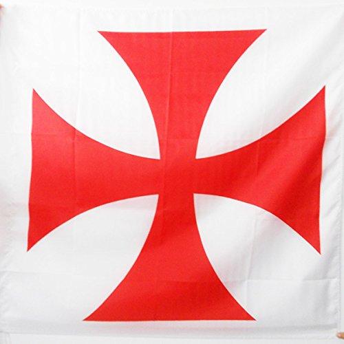 AZ FLAG Drapeau Templiers Ordre du Temple 90x90cm - Drapeau Croix pattee Rouge 90 x 90 cm Fourreau pour hampe