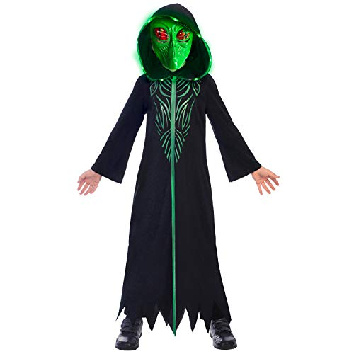amscan-Hooded Robe Alien Costume with Green Mask-Age Years-1 PC Disfraz de alienígena con Capucha y máscara Verde, Edad 8-10 años, 1 Unidad, Color Negro, (9905041)
