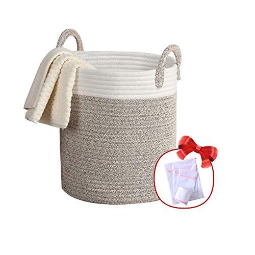 Gestoffeerde wasmand opbergmand opbergdoos opvouwbare wasmand met handvat, voor woonkamer kinderkamer badkamer, katoen touw