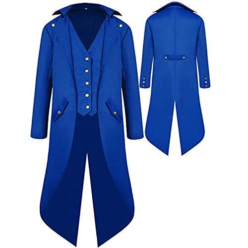 Mens Gothic Medieval Tailcoat Jacket, Steampunk Vintage Victorian Frock High Collar Coat Halloween Costumes (XXXXL, Blue)