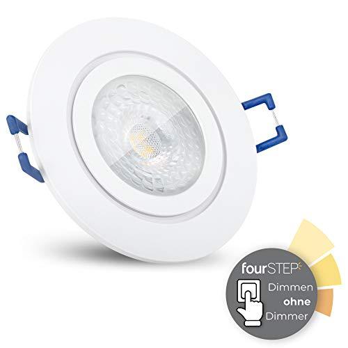 SSC-LUXon RW-2 LED Badeinbaustrahler ultra flach 30 mm mit 5W neutralweiß fourSTEP - Dimmbar ohne Dimmer Spot weiß rund IP44