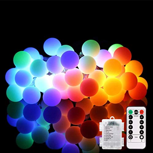 ALOVECO LED String Lights, 18ft 50 LED Battery Powered String Lights, 8 Modes with Remote, Waterproof Globe Starry Fairy String Lights for Bedroom, Garden, Christmas Tree, Wedding, Party(Multi Color)