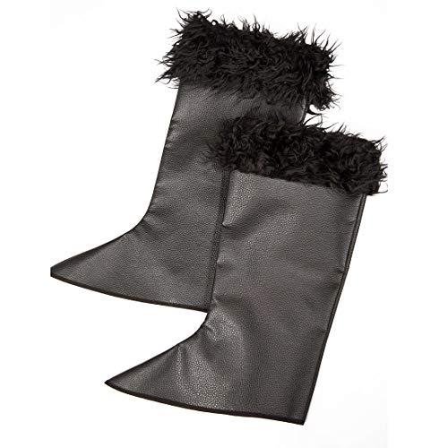Amakando Edle Musketier Stiefelstulpen mit Fell für Erwachsene / Schwarz / Mittelalterliche Boot-Gamaschen / Genau richtig zu Karneval & Mottoparty