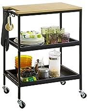 SoBuy SVW13-SCH Bar Cart Kitchen Island Storage Cart Rolling Trolley Rolling Table Rolling Serving Cart met 2 verwijderbare trays en 3 haken, 60 x 41 x 81 cm