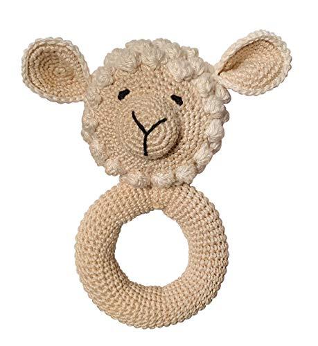 LOOP BABY Baby-Rassel Schaf aus Bio-Baumwolle gehäkelt - Greifring Schäfchen - Geschenk für Baby & Klein-Kinder - waschbar