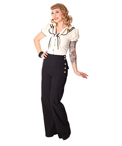 SugarShock Inessa 40s Retro High Waist Marlene Hose, Größe:L, Farbe:Schwarz