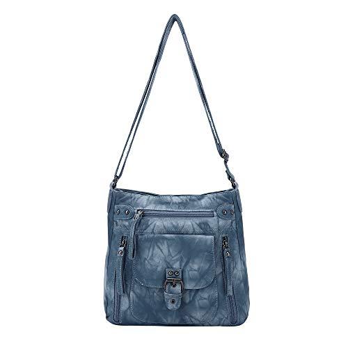 Angel Kiss Crossbody Bags for Women Shoulder Purses and Handbags, PU Washed Leather (AK-KE2053#G361#20LAKE BLUE)