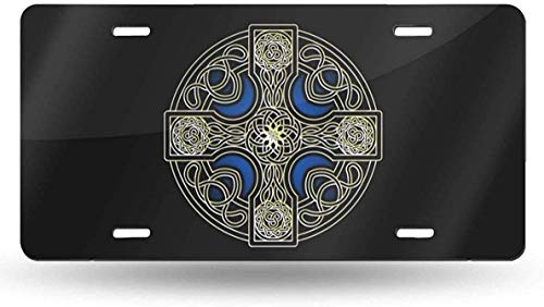Celtic Cross License Plate Vanity Tag Aluminum Car License Plate 6 X 12 Inch for Most Truck Car Bedroom Decor