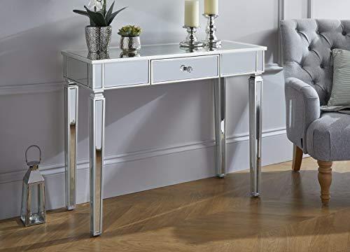 Furniturebox UK Madrid Silver Side Console Hallway Mirrored Drawer Table