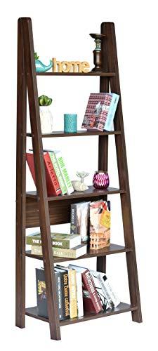 DeckUp Reno Engineered Wood Ladder Book Shelf and Display Unit (Walnut, Matte Finish)