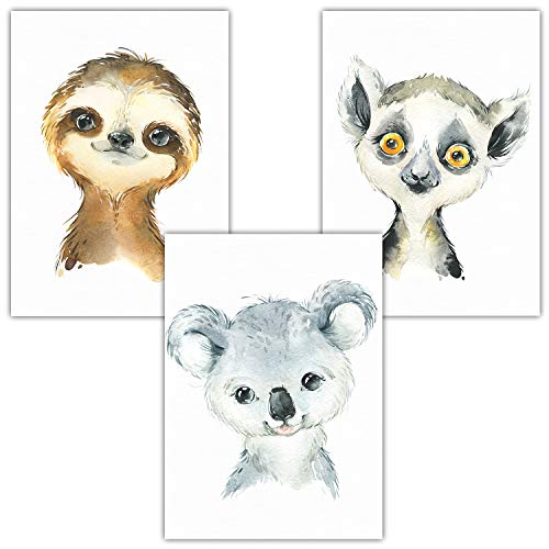 Frechdax® Wandbilder Dekoration für Kinderzimmer 3er Set Poster A4 | Australien Tiermotive (3er Set Faultier, Koala, Lemur)