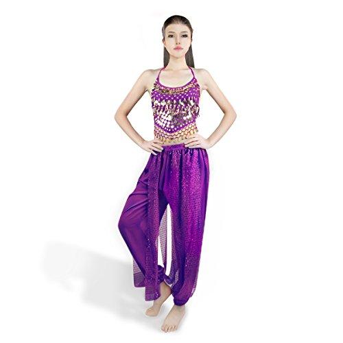 SymbolLife Bauchtanz kostüm Damen indischen Tanzkleidung Tanzkostüme Belly Dance Halloween Karneval Kostüme Darbietungen Kleidung Lila