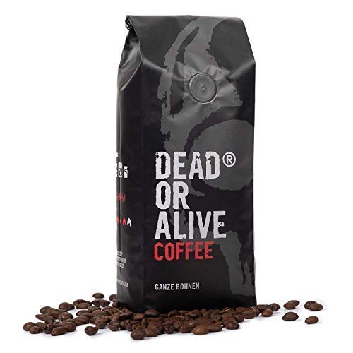 DEAD OR ALIVE COFFEE | 500g Kaffee ganze Bohnen | ganze Kaffeebohnen | säurearmer Robusta Kaffee | starker Kaffee mit kräftigem Aroma | perfekt für Espresso, Mokka und Cappuccino | Bohnenkaffee