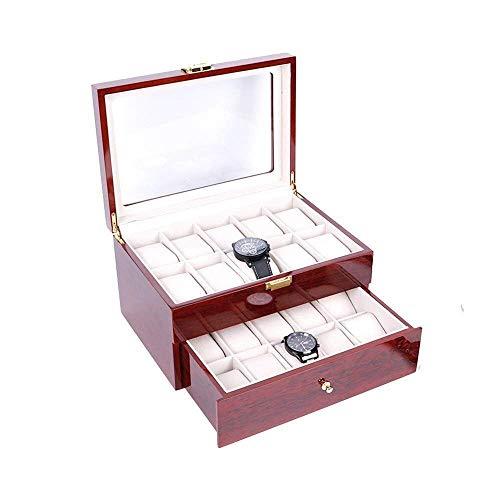 CCAN Caja de almacenamiento de relojes Caja de almacenamiento de relojes de 20 rejillas, organizador de exhibición de reloj de doble capa con tapa transparente Caja de exhibición organizadora de joyas