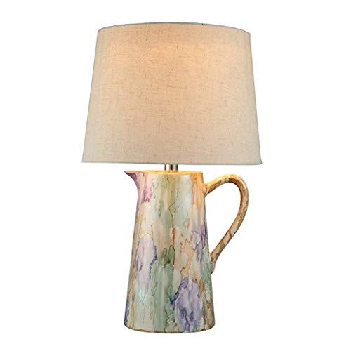 Tafellamp voor slaapkamer, bedlamp, Europese, creatief, decoratief, tafellamp, keramiek, lichaam, wastafel, 56 cm × 33 cm, knoopschakelaar E27 – bureaulamp