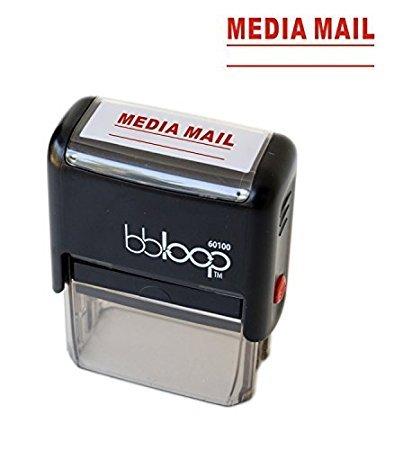 """BBloop Stamp""""Media Mail"""" Self-Inking, Rectangular. Laser Engraved. RED"""
