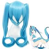 Anime VOCALOID cosplay peluca Hatsune Miku Disfraz Gradiente pelucas azules con coletas Fiesta de Halloween Cabello miku peluca azul y gorro de peluca Talla única Hatsune Miku peluca 14