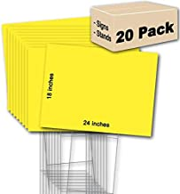 20 Yellow Blank Signs 18''x24'' & 20 Double H 10''x30'' Wire-Stakes