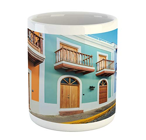 Ambesonne Puerto Rico Mug, Street in Old San Juan with Colorful Houses by the Sea Caribbean Architecture, Ceramic Coffee Mug Cup for Water Tea Drinks, 11 oz, Multicolor