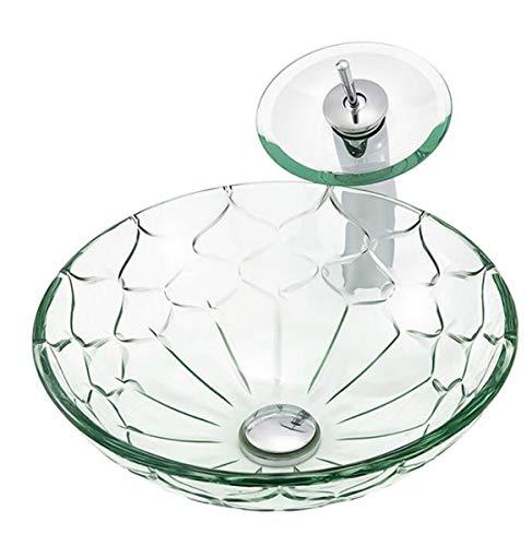NANXCYR container van gehard glas Vanity gootsteen badkamer handwerk kunstmatig glazen kom met spoelbak Pop Up Drain Combo, transparant, motief groen