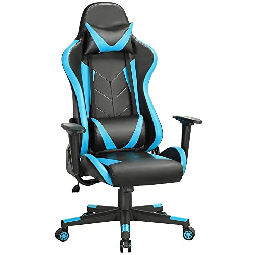 Yaheetech High Back Gaming Chair PU Leather Ergonomic Office Gaming Chair Adjustable Racing Chair with Headrest and Lumbar Support Neon Blue
