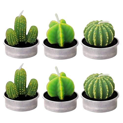 Sitrda Lot de 6 bougies faites à la main en forme de cactus - Pour anniversaire, mariage, décoration d'intérieur - Plusieurs styles