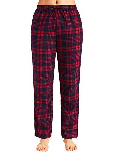 Latuza Women's Pajama Pants Cotton Lounge Pants Plaid PJs Bottoms M Red & Navy