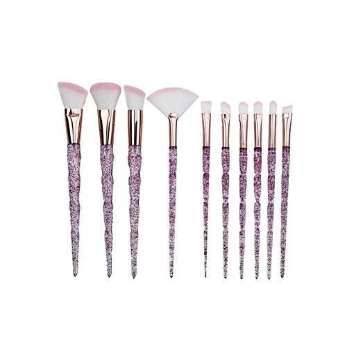 Liutao Maquillage Sets Pinceau de Maquillage 10 pinceaux de Maquillage Spirale colorée Brosse de Maquillage Portable Doux Maquillage Sets (Color : Purple)