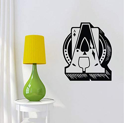 WVOVW Ace Of Spades Wall Stickers Home Decor Playing Cards Sticker Vinyl Wall Decals Mural 44cm X 52cm DS1525
