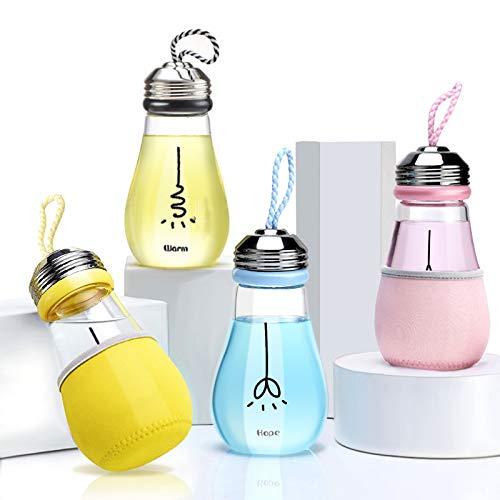 YOUZHA fles voor creatieve lampen 400 ml, fles van Bevanda voor sap met melkthee en deksel + terrarium met deksel voor Negozio voor thuis