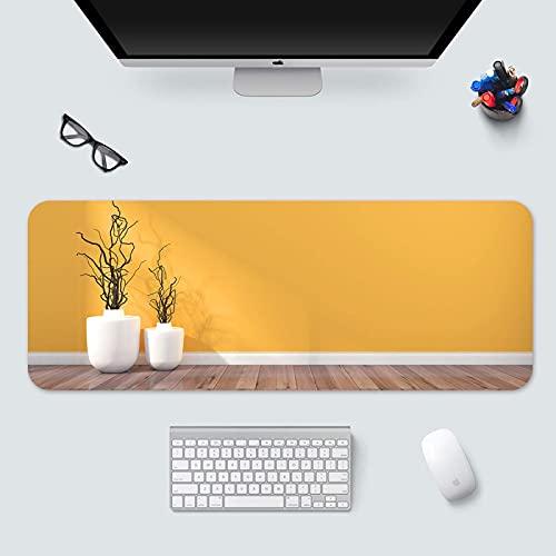 Tastatur und Mauspad Extended Gaming Mousepad Große Schreibtischmatten XXL Weiße Vase Gelbes Hintergrundmuster, Für Heimarbeit, rutschfeste Gummibasis und wasserdichtes Surfa