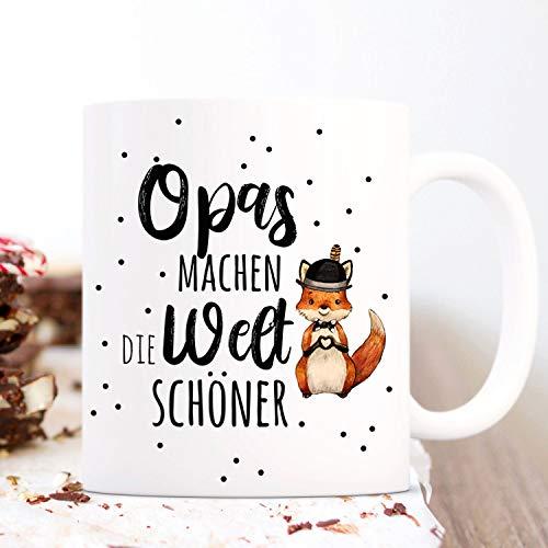 Ol322ay Mok met spreekwoord Opas Maak de wereld mooie vos hart hoed motief koffiemok geschenk cadeaubeker ts1066