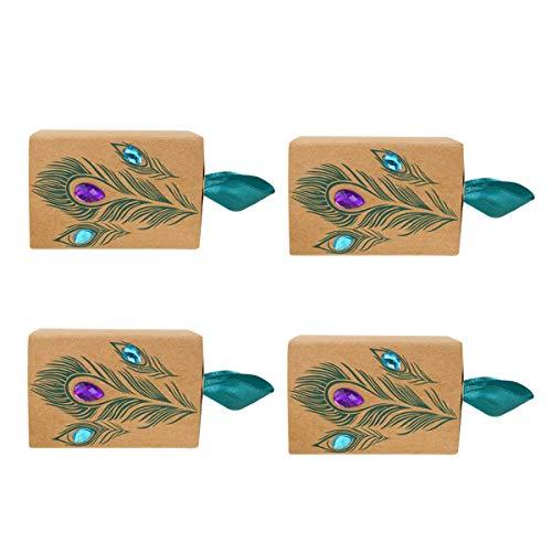 Toyvian Cajón de papel Caja de dulces Taladro Caja de almacenamiento de la boda de la pluma de pavo real para la boda Fiesta Tienda de fiesta - 25pcs