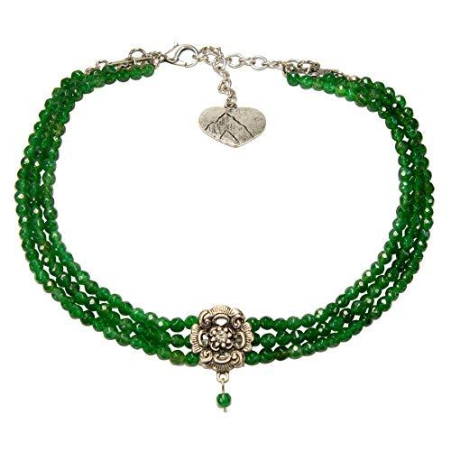 Alpenflüstern Trachten-Perlen-Kropfkette Frederike - nostalgische Trachtenkette, eleganter Damen-Trachtenschmuck, Dirndlkette grün DHK213