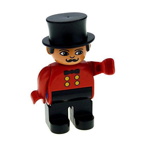 1 x Lego Duplo Figur Mann Zirkus Direktor Dompteur Hose schwarz Jacke rot mit Knöpfen und Fliege Hut Zylinder schwarz 4555pb036