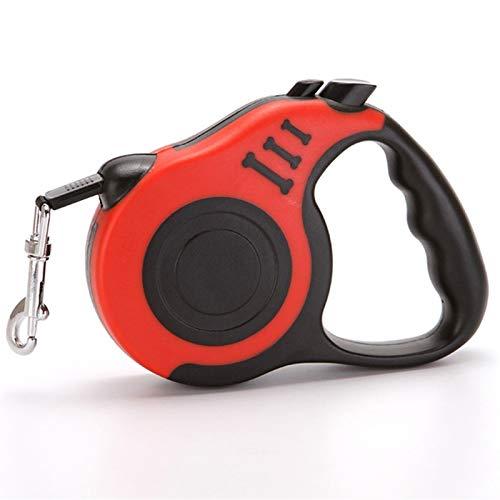 Correa para Perros retráctil - Freno y Bloqueo de un botón - Se extiende hasta 3M Ideal para Perros pequeños No más de 10 kg (Color : Red)