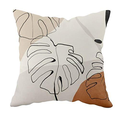 LIUXU Funda de almohada estampada suave de piel de melocotón transpirable con diseño de plantas