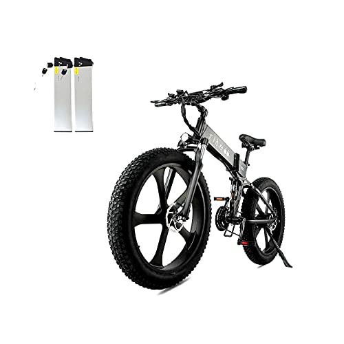 ride66 Bicicletta elettrica pieghevole R5 26 pollici Fat Tire 21 velocità freno idraulico 1000 W 48 V 12,8 Ah LG batteria a celle (doppia batteria nera)