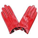 AHANGHAO Damen Lederhandschuhe Winter warme Lammfell-echtes Leder-Handschuhe Touchscreen Handschuhe...