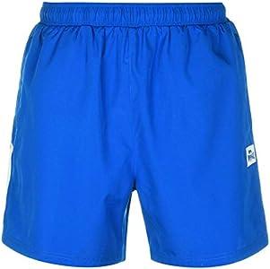Lonsdale - Pantalones cortos de entrenamiento para hombre, dos rayas, malla interior Azul Azul y blanco. 46