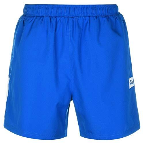 Lonsdale - Pantalones cortos de entrenamiento para hombre, dos rayas, malla interior Azul Azul y blanco. 42