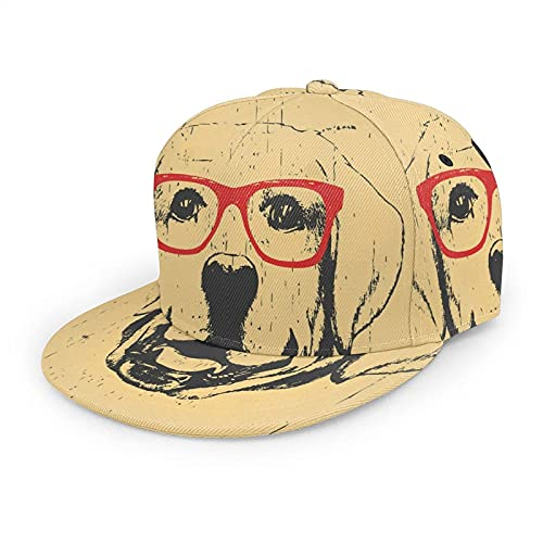 Sombrero de Labrador Gorra de béisbol para hombre y mujer, lindo perro mascota retrato con gafas amarillas retro Hip Hop Snapback Trucker sombrero de béisbol de ala plana