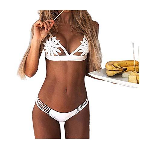 Lialbert Bikini Push-Up Tankini Blumen Triangel BH Gepolstert Badeanzug Damen Bademode Sommer Schwimmanzug