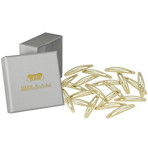 HAARallerliebst Haarspangen gross (20 Stück | gold schimmernd | ca. 6cm) inkl. Schachtel zur Aufbewahrung (Schachtelfarbe: weiss)