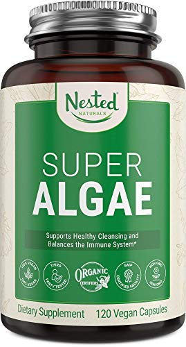Super Algae Certified Organic Spirulina and Chlorella Vegan Capsules - Blue Green Algae Powder Supplement to Support Energy, Immune System and Healthy Gut - Non-GMO