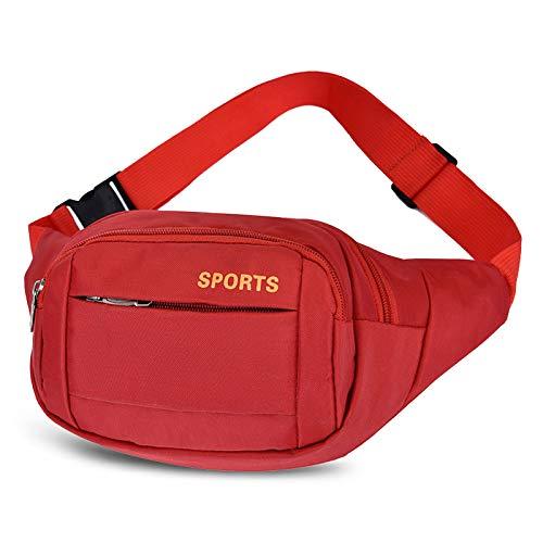 GothicBride Riñonera Deportiva, Riñonera Running Impermeables con Bandas para el Sudor Cinturón y Tiras Ajustables para Deportes al Aire Libre (Rojo)